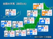 明日28日(火)の天気 朝までに東京23区でも積雪のおそれ 西は季節外れの大雨