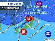 週明け3日(月)は低気圧通過 北日本~北陸で雨や雪