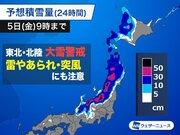 東北は短時間に激しい雪で積雪急増のおそれ 暴風による吹雪にも警戒