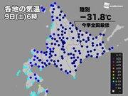 今冬初 −30℃以下を観測 北海道は記録的寒気で冷え込み強まる