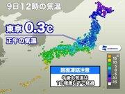 東京都心 正午の気温は0.3℃ 正午に0℃台は4年ぶり