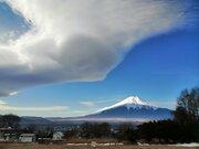 富士山に吊るし雲出現 天気下り坂のサイン