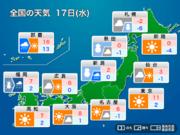 今日17日(水)の天気 日本海側は大雪や吹雪で荒天 関東は冬晴れに
