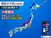 日本海側の広範囲で大雪警戒 明日にかけて1m超の積雪増加も