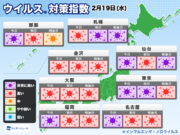 ウイルス対策指数 東京は今日・明日は非常に高い予想