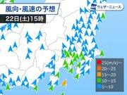 22日(土)は関東で春一番か 三連休は北日本で荒れた天気に