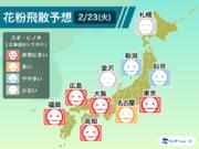 """2月23日(火)の花粉飛散予想 気温が下がっても東京は""""非常に多い"""""""