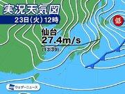 東北太平洋側で暴風警報 仙台で最大瞬間風速27.4m/sを観測