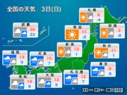 関東以西の広範囲で雨 西日本では強まるところも(3月3日の天気)