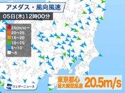 東京で20m/s超の強風、埼玉では砂嵐も 16時頃まで注意
