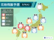 """3月9日(火)の花粉飛散予想 東京は気温が上がり""""多い""""予想"""