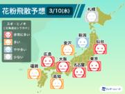 """3月10日(水)の花粉飛散予想 東京や大阪など""""非常に多い"""""""