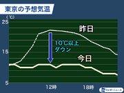 東京は昨日より10℃以上気温ダウン 初夏の暑さから一転冬の寒さ