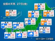 今日27日(金)の天気 各地で強い雨風に注意 関東もにわか雨あり