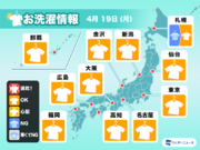 4月19日(月)の洗濯天気予報 晴れて広く外干しOK
