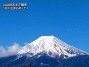 雷雨に洗い流された青空に白い富士山
