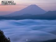 暁に映える霞富士