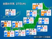 明日27日(木)の天気 全国的に雨、西日本〜東日本太平洋側は大雨のおそれ