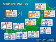 今日26日(火)の天気 全国的に大気の状態不安定 急な雨や雷雨に注意
