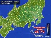 東京都心など 午前中から25以上 関東で前日より気温が大幅アップ