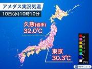 東京は2日連続30℃超え 午後は東北で猛暑日予想