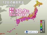 東京は4日連続30℃の真夏日に 梅雨らしい蒸し暑さに