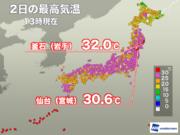 仙台で真夏日を記録 東北太平洋側はフェーン現象で高温に
