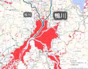 大雨で京都の鴨川・氾濫注意レベルへ