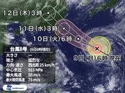 猛烈な台風8号 非常に強い勢力で10日(火)に沖縄・先島諸島に接近