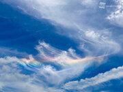 巻雲が虹色に彩られる 広島に「環水平アーク」が出現