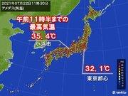 「大暑」 午前中から広く30以上 福井県で猛暑日地点も こまめな水分補給を