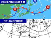 来週は北陸や東北で大雨警戒 過去の大雨と似た気圧配置に