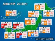 26日(木)東海や西日本では暑さ続く ゲリラ豪雨にも要注意