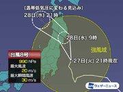 台風8号、茨城県沖を北上 午前中に宮城・岩手付近上陸へ