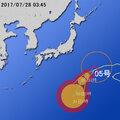画像:【台風第5号に関する情報】平成29年7月28日05時10分 気象庁予報部発表