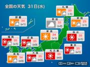31(水)の天気 全国各地で35℃前後の猛暑続く