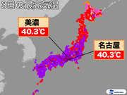 連日激暑 40℃超え観測数、過去最多に