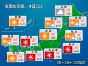 土曜日も猛暑継続 熱中症に警戒 北日本は傘の出番