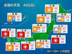 今日 8月4日(日)の天気 続く猛暑に警戒 台風8号は小笠原に最接近