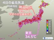 山梨・勝沼で今年最高の39.7を観測 東京は猛暑日手前の暑さに