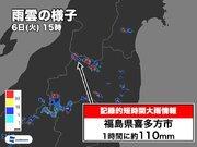福島県で1時間に約110mmの猛烈な雨 記録的短時間大雨情報