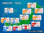 8月7日(水)の天気 厳しい暑さ・天気急変に注意