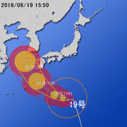 【台風第19号に関する情報】平成30年8月19日16時44分 気象庁予報部発表