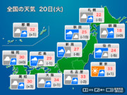 20日(火)の天気 西・東日本は雨でムシムシ