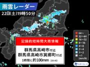 群馬県で1時間に約100mmの猛烈な雨 記録的短時間大雨情報