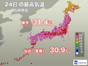東京は3日ぶりの真夏日も、蒸し暑さはやや軽減