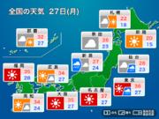 週明け27日(月) 関東で猛暑のち雷雨も