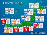 26日(日)も猛残暑 40℃近い暑さになるところも