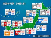 29日(水)前線と湿った空気で 東北や関東は一時的な強雨や雷の恐れ