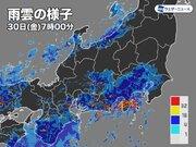 静岡県で50mm/h超の非常に激しい雨 関東南部も朝は雨の強まり注意